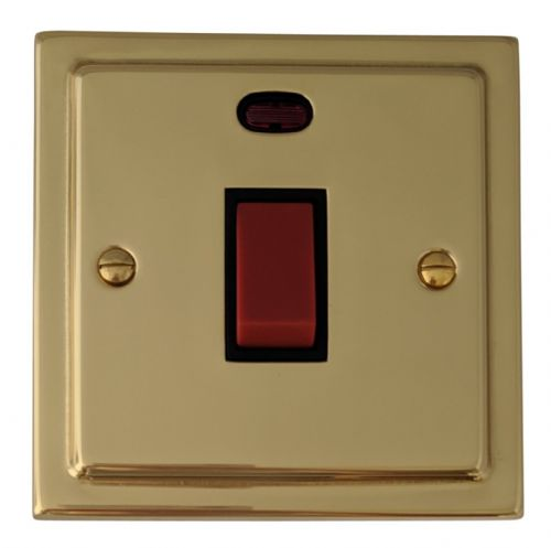 G&H TB46B Trimline Plate Polished Brass 45 Amp DP Cooker Switch & Neon Single Plate